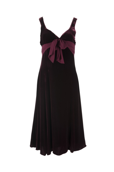 Burgundy Velvet Ribbon Dress