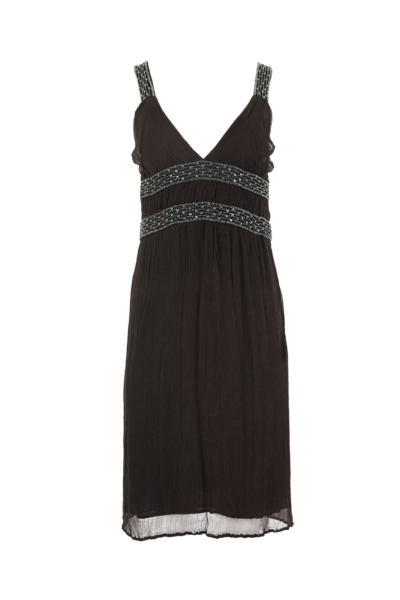 Gray V Neck Chiffon Beaded Dress