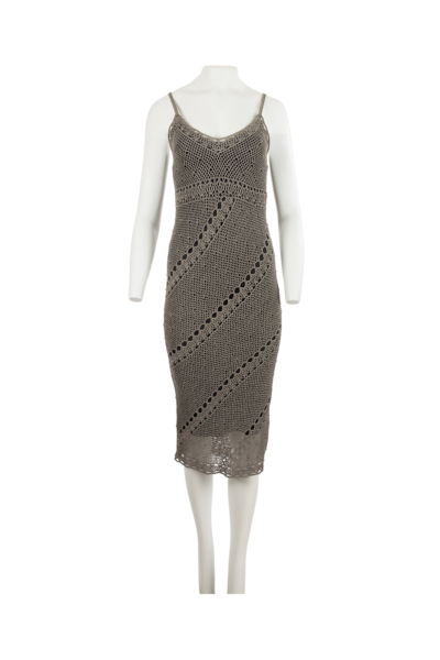 Gray Woven Net Fitted Dress