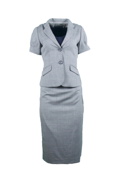 Gray Plaid Skirt Suit
