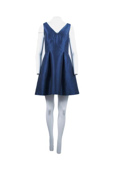 Navy Blue Flared Shantung Dress