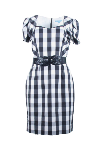 Black and White Check Belted Dress