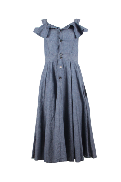 Denim Button Down Flared Dress