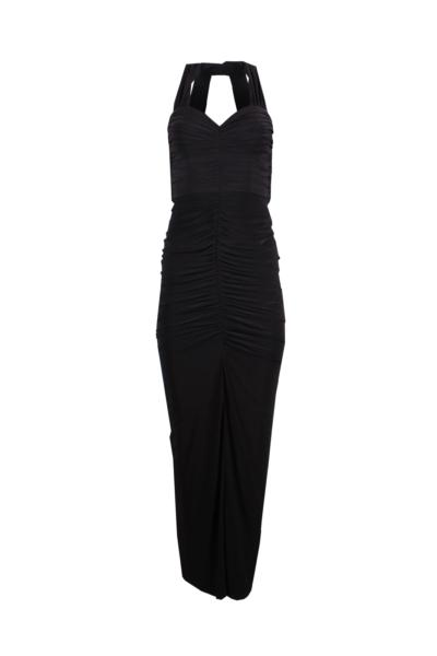 Black Halter Ruffled Jersey Gown
