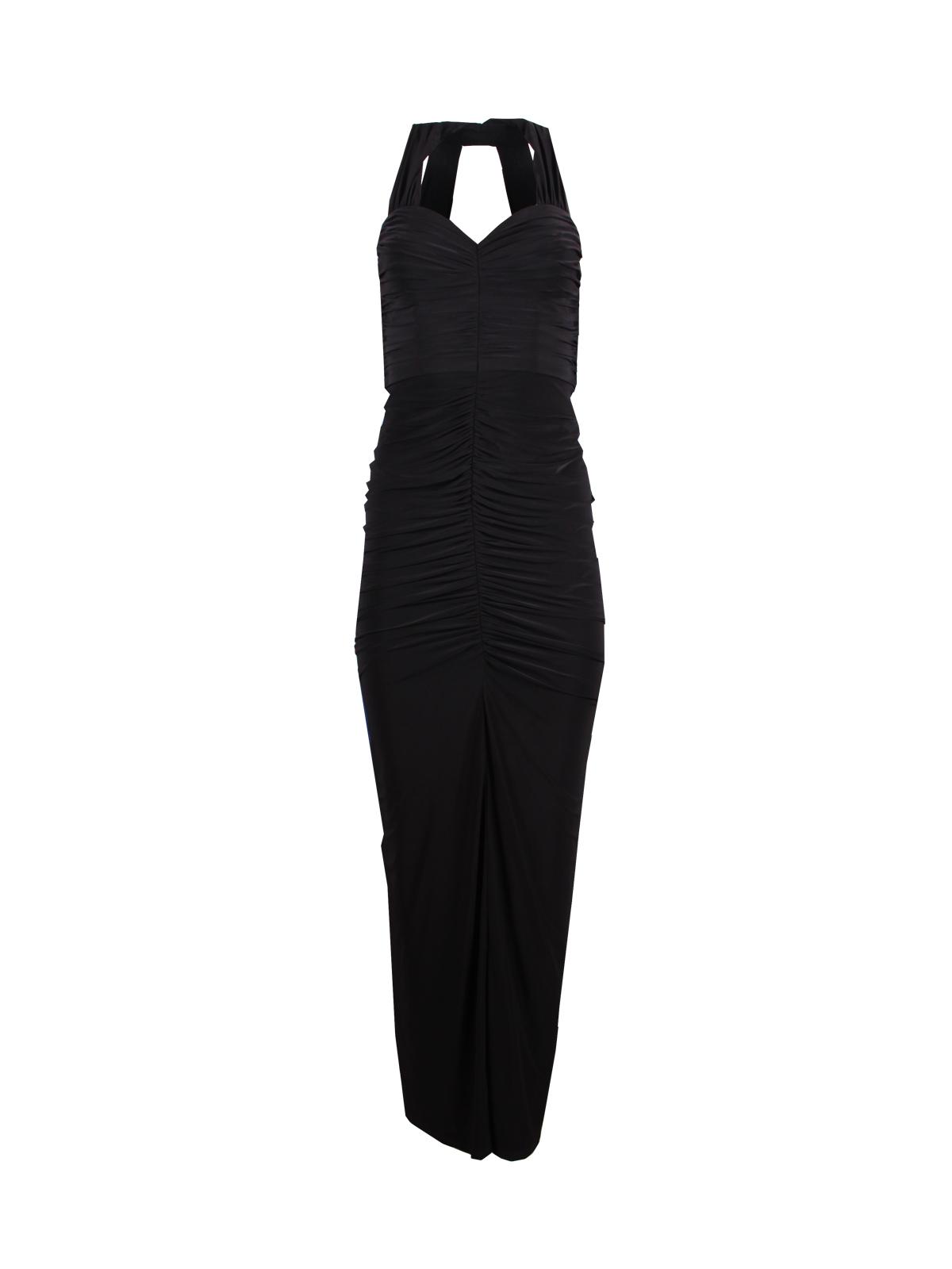 Black Halter Ruffled Jersey Gown [2] - SilkRoll