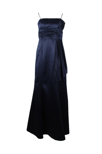 Navy Blue Long Satin Gown