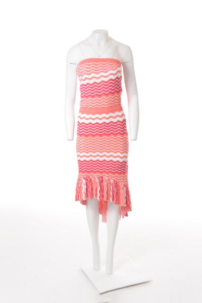 Stripe Pattern Strapless Knit Dress