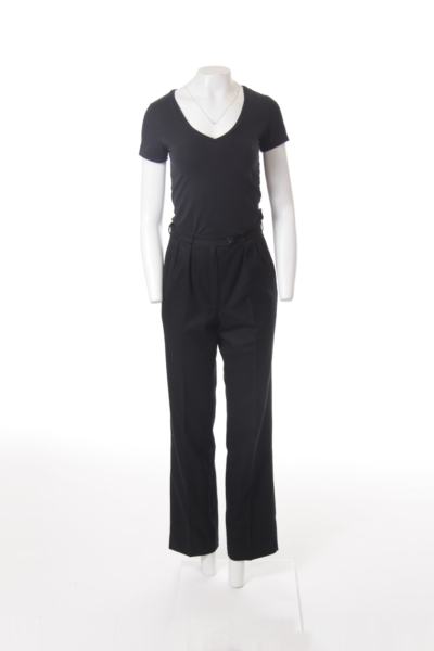 Black High Waist Wool Pants