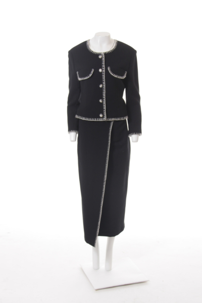 Black with White Stitch Trim Suit