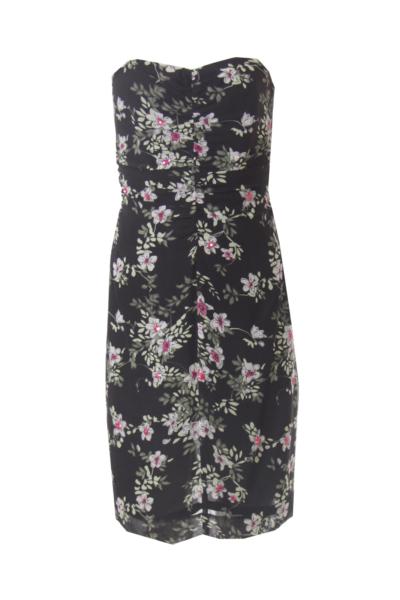 Black Flower Print Strapless Dress