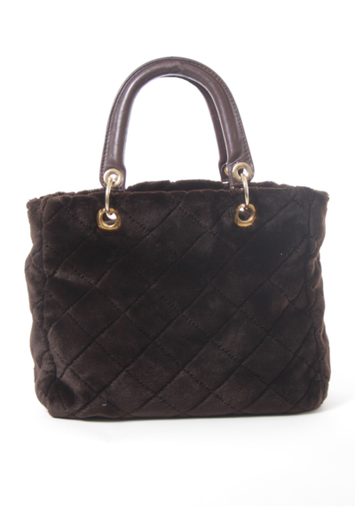 Brown Faux Fur Matelasse Satchel