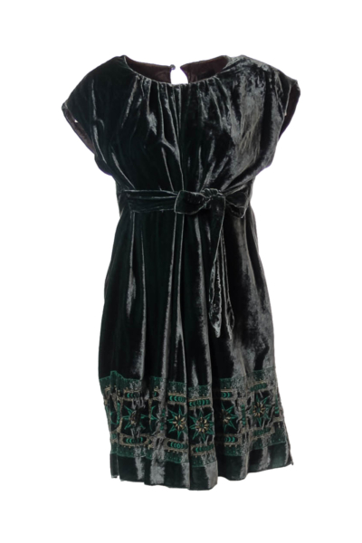 Green Velvet Doll Dress