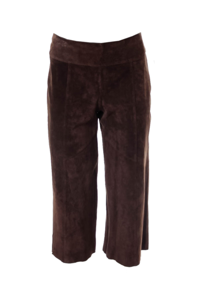 Brown Suede Cropped Pants