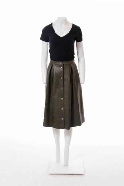 Green Leather High Waist A-line Skirt