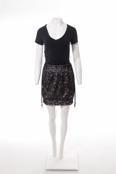 Black Lace Skirt with Tassles