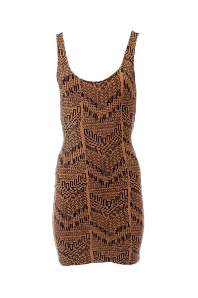 Brown Tribal Print Open Back Dress