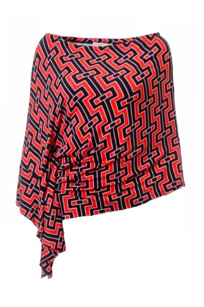 Navy & Orange Asymmetrical Print Shirt