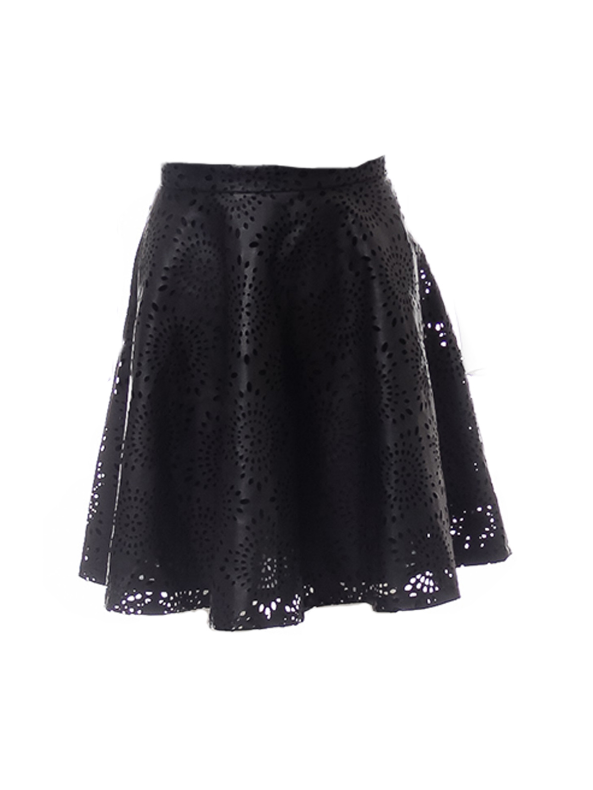 Black Faux Leather Laser Cut Flared Skirt