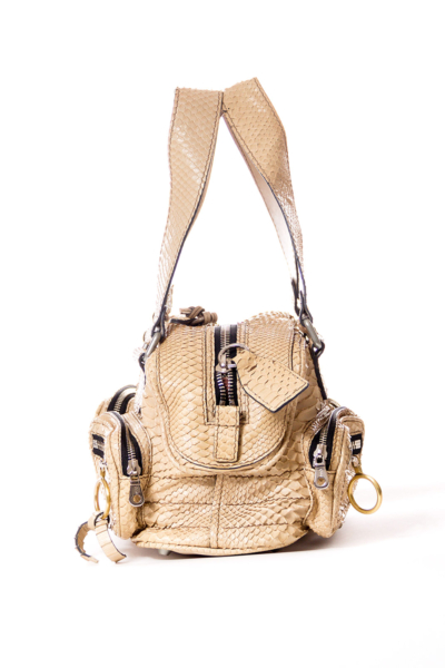 Beige Snake Leather Satchel