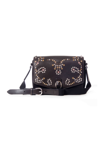 Black Studded Suede Crossbody Bag