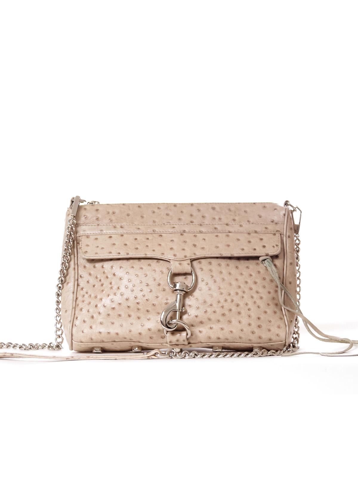 Beige Ostrich Leather Print Crossbody Bag*