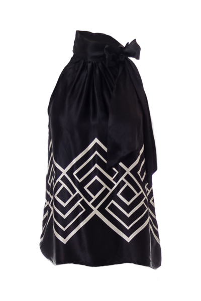 Black & White Bow Sleeveless Blouse