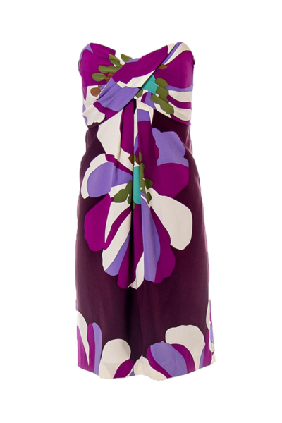 Purple Print Strapless Dress