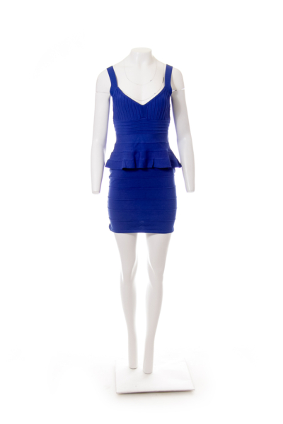 Blue Peplum Bandage Dress