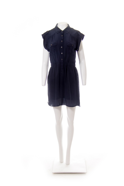 Navy Shirt Dress with Pockets