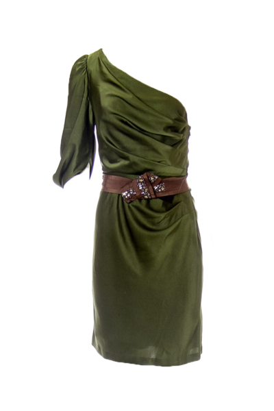 Army Green One Shoulder Belted Dress