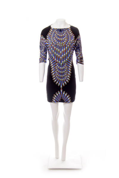 Peacock Shift Dress with Open Back