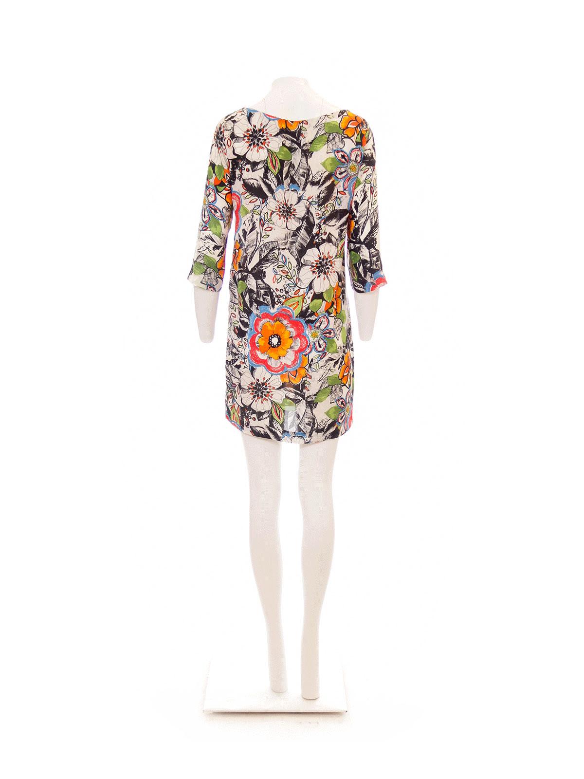 White Flower Print Shift Dress
