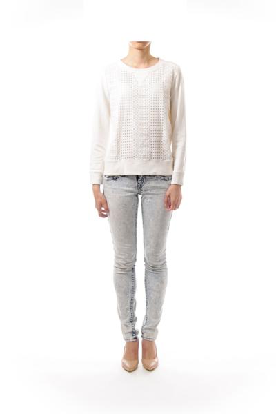 Cream Circle Cut Sweatshirt