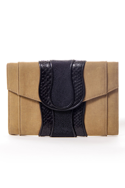 Brown Canvas Watersnake Detail Clutch