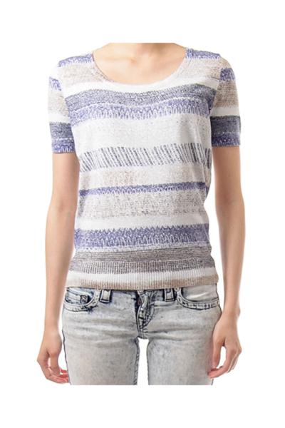 Blue & White Shimmer Knit Top