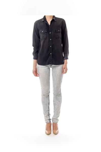 Grey Denim Studded Shirt