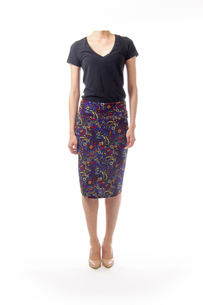 Blue Floral Knit Pencil Skirt