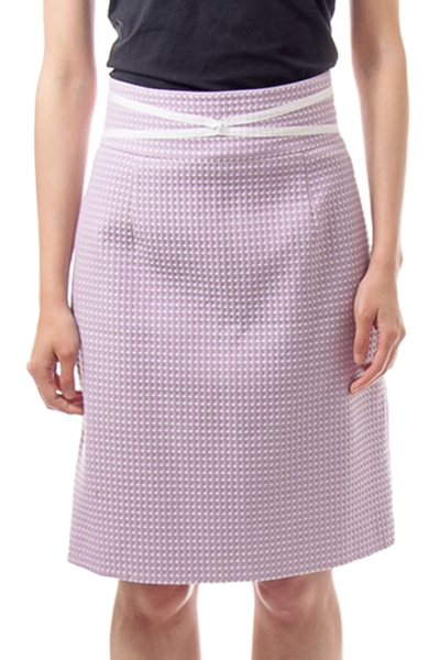 Purple Polkadot High Waisted Pencil Skirt