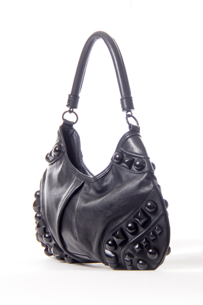 Black Leather Studded Shoulder Bag