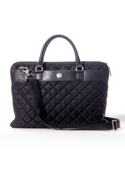Black Quilt Nylon Laptop Bag