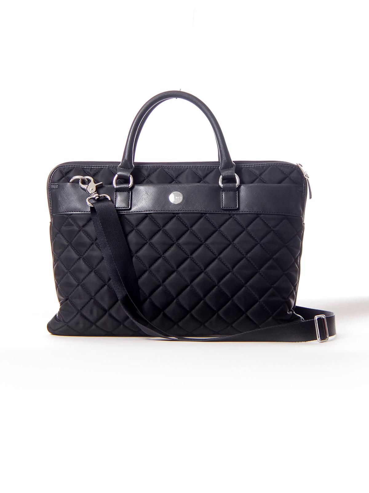 Black Quilt Nylon Laptop Bag