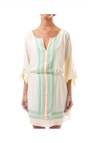 Cream Mid-Sleeve Dress with Stripe Print