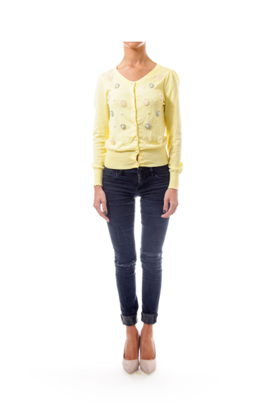 Yellow Embroidered Knit Top