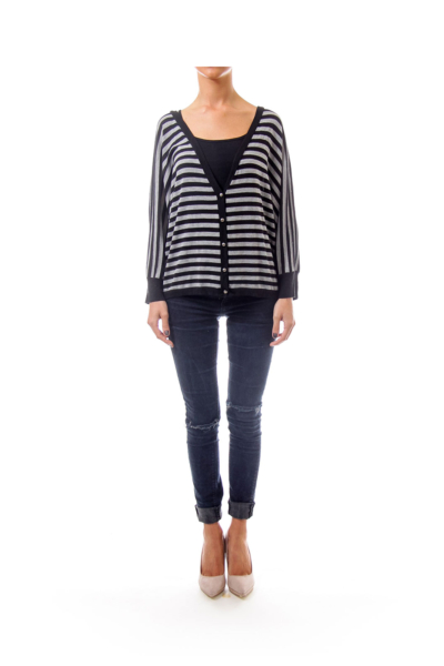 Black & Grey Stripe Cardigan