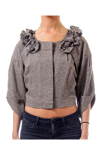 Chocolate Woven Cropped Jacket