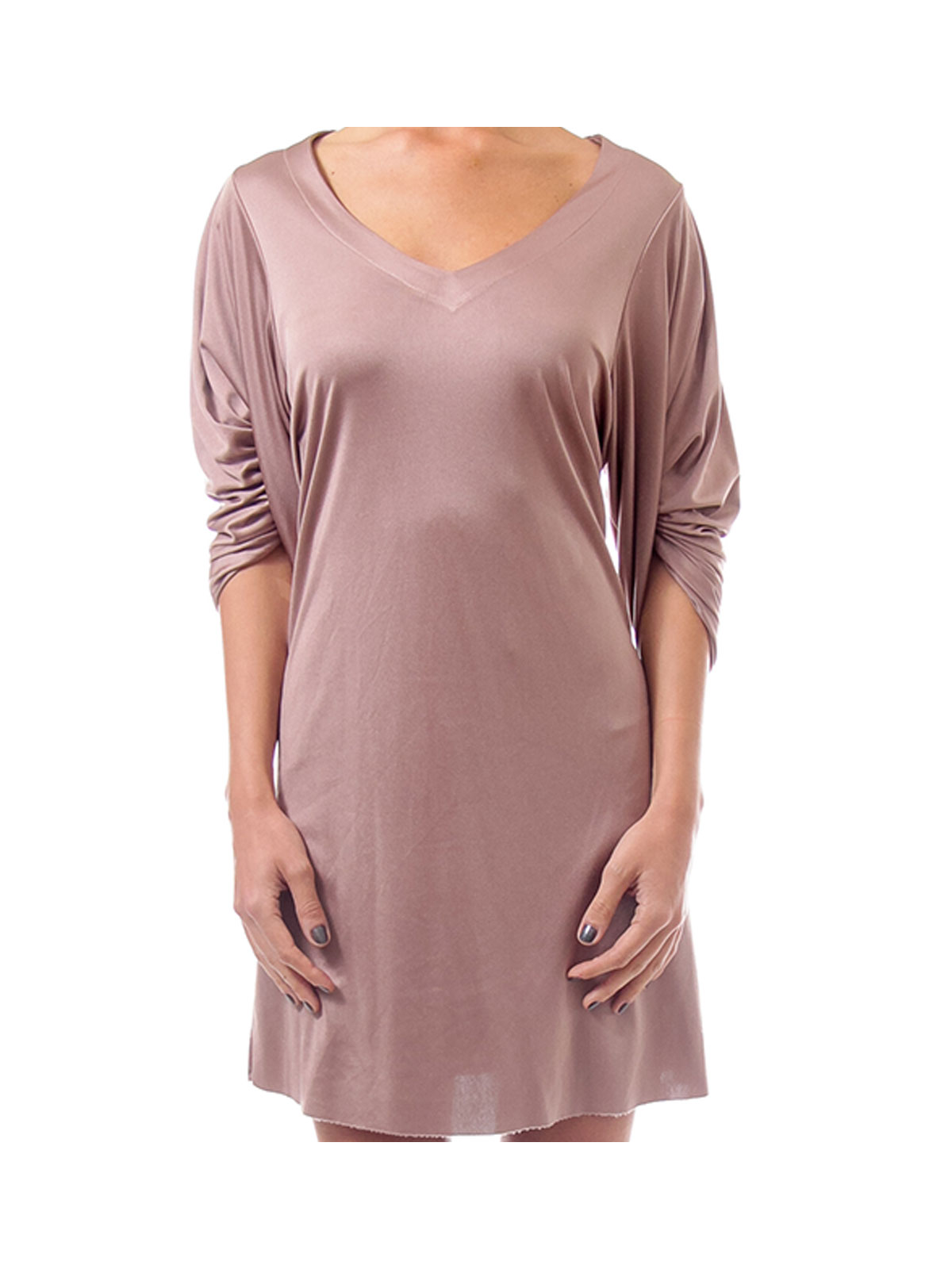 Brown V-Neck Shift Dress