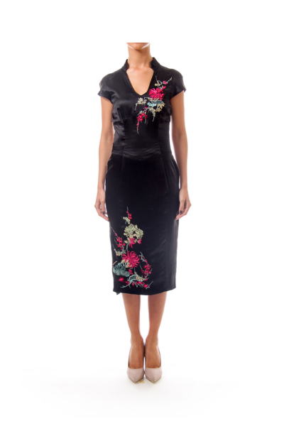 Black Embroidered Silk Dress