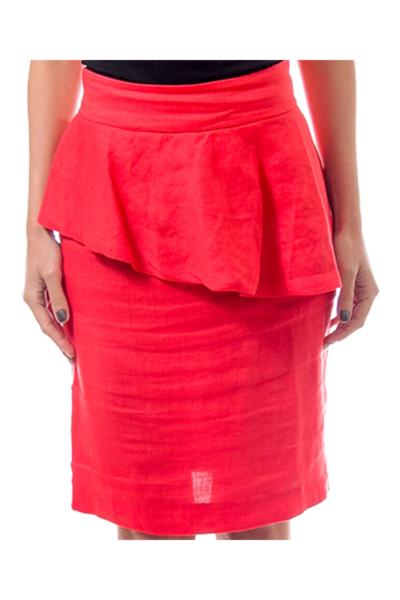 Red Linen Peplum Skirt
