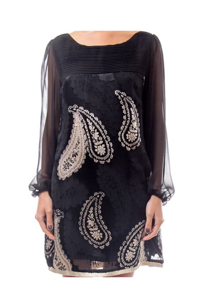 Black Silk Paisley Print Dress