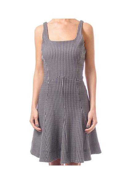 Black & Cream Knit Flare Dress